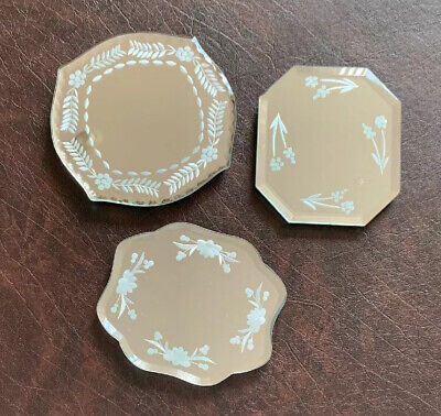 Set of 2 Vintage Victorian Etched Mirrored Wall Decor Candle Holder