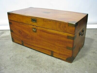 19th Century English Mahogany Campaign Style Trunk With Brass Straps