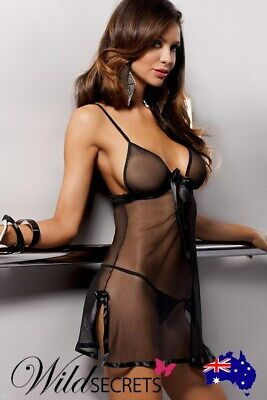 NEW Casmir Black Silky Sheer Chemise with Thong, Babydoll/Chemise, Wild Secrets