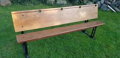 Victorian Cast Iron Folding School / Chapel 4 Seat Pitch Pine Bench / Desk