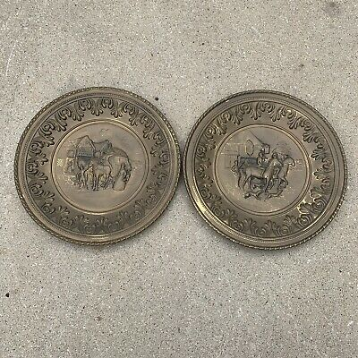 "Lot Of 2 Vintage Brass Wall Hanging Plates Made In England 12"" Horses"