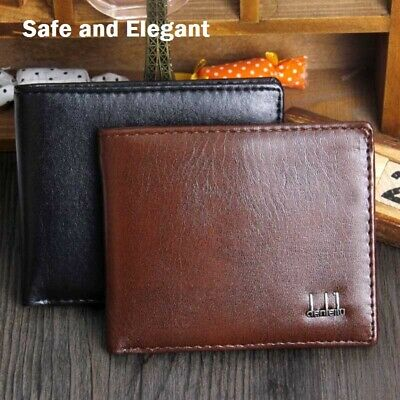 RFID Blocking Mens Genuine Leather Flap Credit Card ID Holder Slim Bifold Wallet