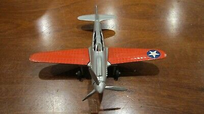 Hubley P 38 and p 40 airplane  nickel plated cast metal prop