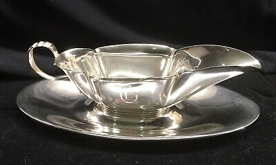 "Antique 1913 Gorham Sterling Silver Small Gravy Boat And Dish Set 88gr ""G"" Mono"