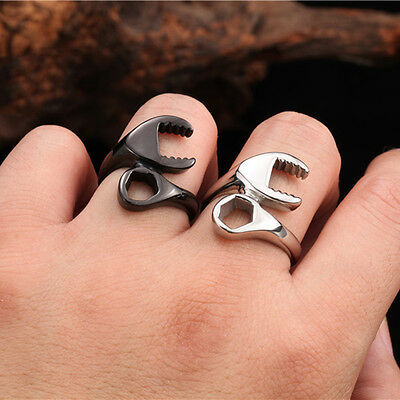 Mens 316L Stainless Steel Ring Punk Biker Mechanic Wrench Rings US Size 7~13 T -