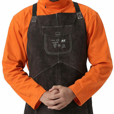 Durable Cowhide Leather Welding Long Apron Protective  Gear Welder Work Clothing