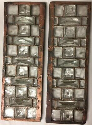 Pair of Vintage Leaded Glass 3-Dimensional Pyramid Jeweled Panels