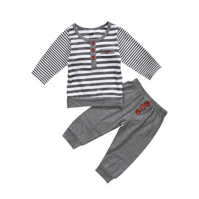 Newborn Kids Baby Boys Outfits Cotton Tops T Shirts+Long Striped Legging Clothes