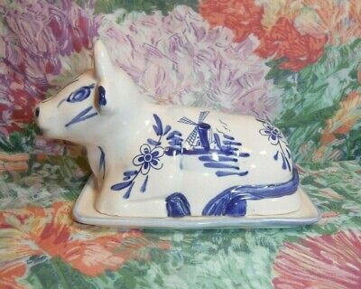 Vintage Delft (?) Ceramic COW COVERED BUTTER DISH w/DUTCH Windmill Design