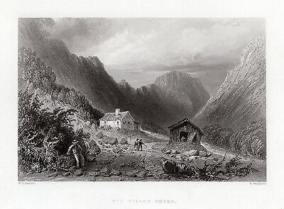"""Charming W. H. BARTLETT 1800s Engraving """"The Old Willey House"""" SIGNED Framed COA"""