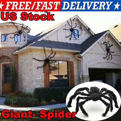 75cm Giant- Spider Halloween Decor Haunted House Prop Home Black Outdoor Party