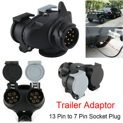 Trailer Caravan Towing 13 Pin to 7 Pin Light Board Extension Adaptor Socket Plug