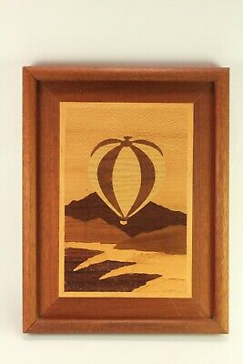Early Hudson River Marquetry Art Wood Inlay Hot Air Balloon Picture Jeff Nelson