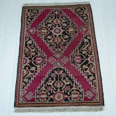 Hand-Knotted Antique Fragment Caucasian Rug 1900s Rare Tribal Wool Carpet