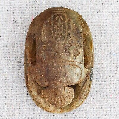 Small Vintage Antique Hand Carved Egyptian Stone Scarab Beetle Amulet Stamp Seal