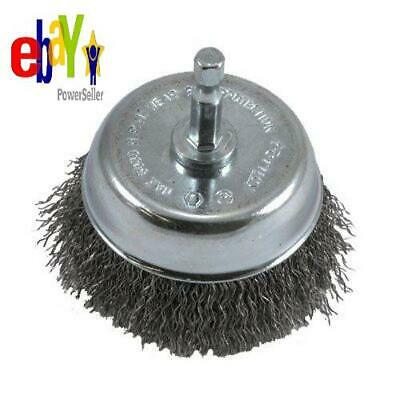 Forney 72731 Wire Cup Brush, Coarse Crimped With 1/4-Inch Hex Shank, 3-Inch-By-.