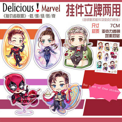 Marvel The Avengers Deadpool Doctor Strange Hulk Acrylic Keychain Stand 2-side N