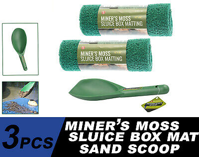 "3PC Miner's Moss 12"" x 36"" Sluice Box Matting Prospector Sand Scoop Green"