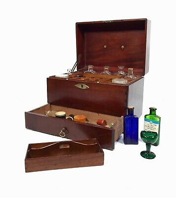 Antique 19th Century Apothecary Mahogany Campaign Style Wooden Box & Contents
