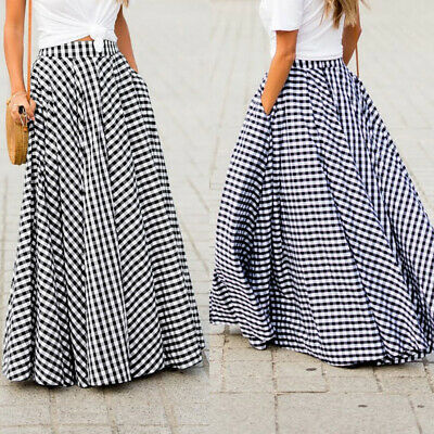 ZANZEA Women Summer Flare Swing Ladies Skirts Plaid Check Dress Long Maxi Skirt