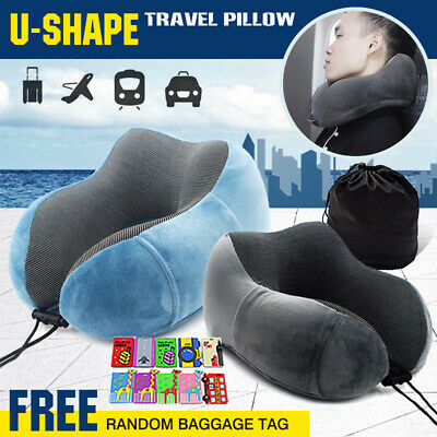 Memory Foam Rebound Pillow Cushion Travel Neck Support Office Car Flight Plane