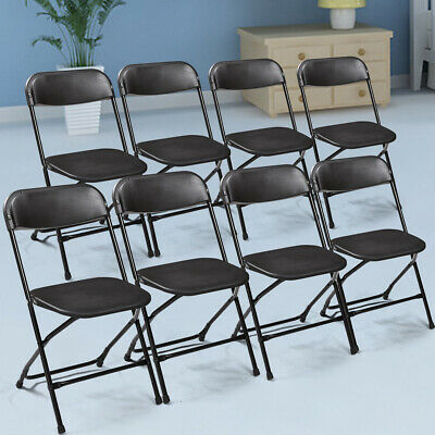 8 PCS  Plastic Folding Chairs Stackable Wedding Party Event Commercial Black