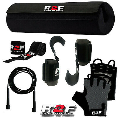 R2F Barbell Pad Weight Lifting Grip Squat Gym Bodybuilding Gloves Fitness Grips