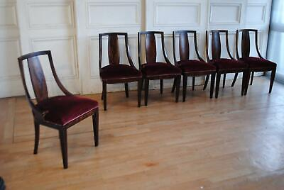 Set 6 French Art Deco Rosewood Veneer Dining Chairs c1920's
