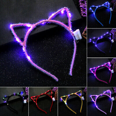 UK Fashion Headband Gift Sweet-Headwear LED-Lights Cute Cat Ears Accessories