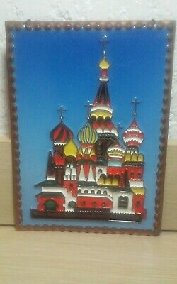 Exceptional vintage 1990 Enamel on copper in relief Moscow,Russia