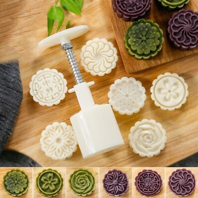 6 Rose Flower Stamps Moon Cake Decor Mould Round Mooncake Mold DIY Tool 50g