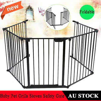 AU Pet Dog Baby Playpen 5 Panel Kids Safety Gates Interactive Fence Barrier