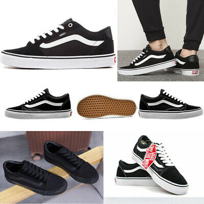 Unisex Black Casual Shoes Classic Canvas Low Top Sneakers Van Old School Skate