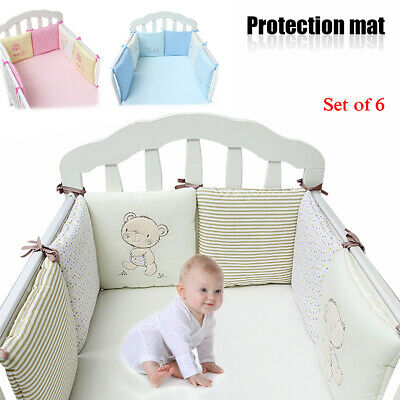6pcs Baby Infant Cot Crib Bumper Safety Protector Toddler Nursery Bedding