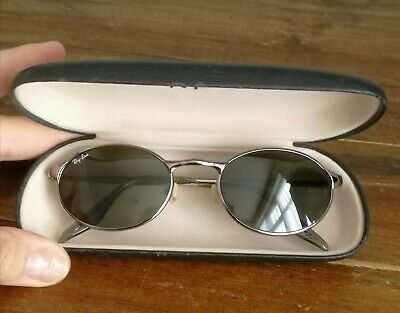 Vintage RayBan Sunglasses Bausch & Lomb Model RB3002 Black Oval with Silver Trim