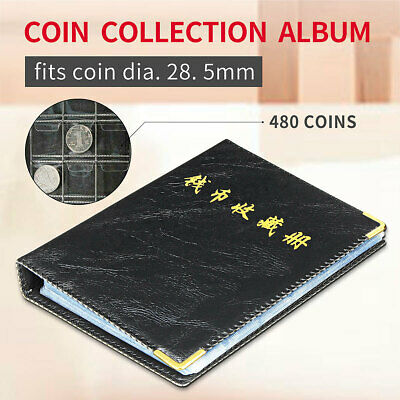 480 Coins Holder Money Storage Pockets Penny Collection Album Book Collecting