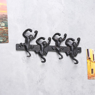 4 Hooks Rustic Monkey Key Cast Iron Hook Coat Robe Towel Rack Door Wall Decor