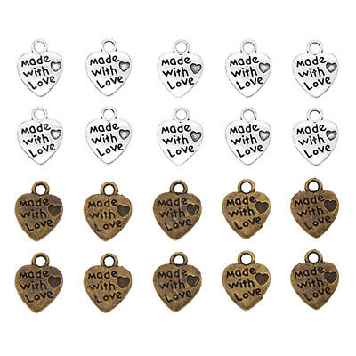 50x Made with Love Heart Shape Metal Labels Handmade Sewing Clothes Tag Pendant