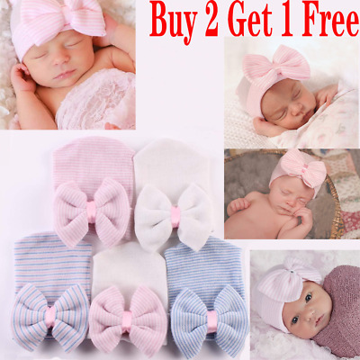 Baby Girls Infant Soft Hat with Bow Cap Hospital Newborn Boy bow knot Cotton Hat