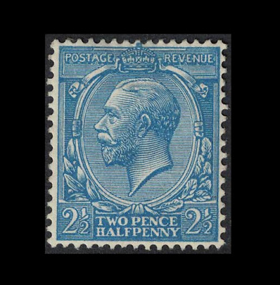 GB stamps - george v - royal cypher Mint prussian blue 2 1/2d sg373a - cv £1850