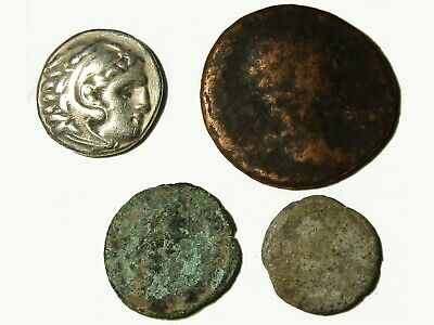 Lot Of 4 Ancient Greek And Roman Coins With Drachm Of Alexander Iii, Rare