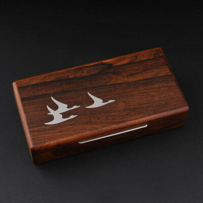 Wood Box, Inlaid Silver. Nordic Swans. Vintage. MADE IN DENMARK.1960s. VERY RARE