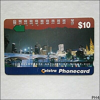 Telstra Cityscapes Melbourne Skyline At Night N955723a 1160 $10 Phonecard (PH4)