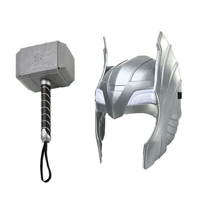 Cosplay Glowing LED Sounds Hammer + Helmet For Thor Action Figures Kids