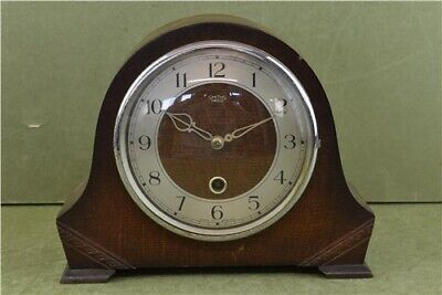 Smiths Enfield Vintage Wooden Mantel Clock With Key & Pendulum Not Boxed Retro