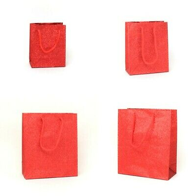 6 x Red Glitter Gift Bags Xmas Gift Wrapping Packaging Gift Wrap