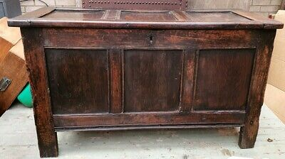 Large heavy 17th C Antique Coffer , Aged, Blanket Box ,