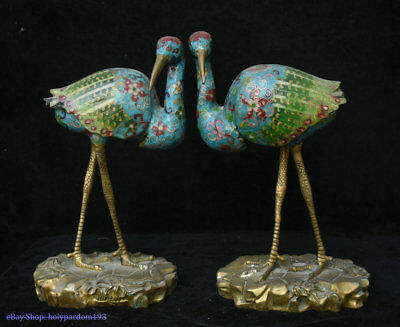 "12"" Old Chinese Bronze Cloisonne Carved Flower red-crowned Crane Animal Statue"