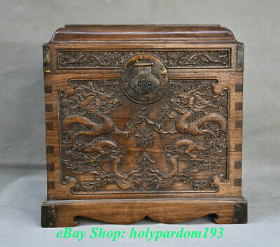 "13"" Old China Huanghuali Wood Carving Palace Double Dragon Chest Jewelry Box"