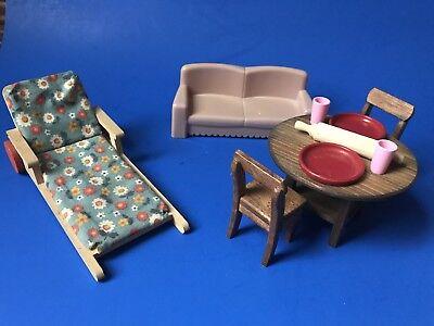 Misc Dollhouse Furniture- Kitchen Set W Accessories/Vtg Chaise Lounge/Couch